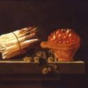Adriaen Coorte, asperges kruisbessen en aardbeien op stenen bank